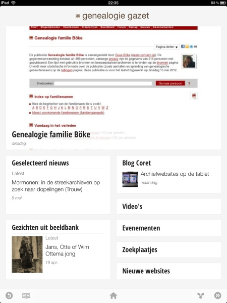 Genealogie Gazet op de iPad - view 1
