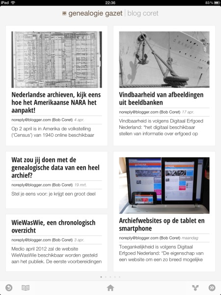 Genealogie Gazet op de iPad - view 2
