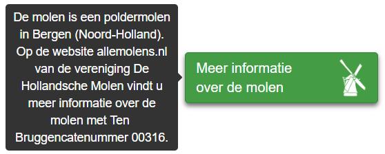 Informatie die wordt getoond bij een link naar een molen op basis van het Ten Bruggencatenummer