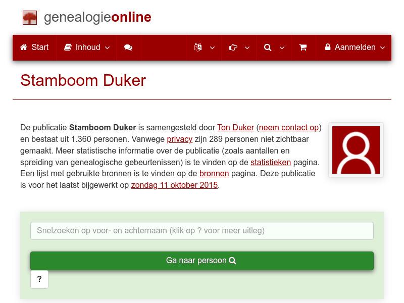 Screenshot van website
